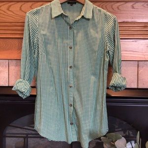 The Limited Green Gingham Button Down Shirt